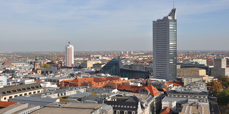 Leipzig von oben Blick auf Cityhochhaus Wintergartenhochhaus - Foto: Stadt Leipzig