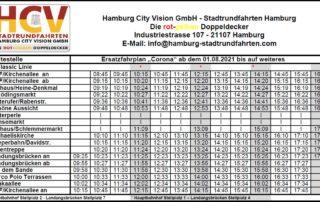 Corona Ersatzfahrplan ab 01.08.2021 – Stadtrundfahrt Hamburg – Hop On Hop Off – Classic Linie C – Die rot-gelben Doppeldecker