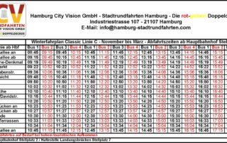 Winterfahrplan - Stadtrundfahrt – Hop On Hop Off – Classic Linie C – Die rot-gelben Doppeldecker