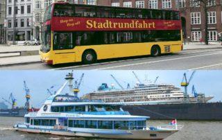 Stadt- und Hafenrundfahrt Hamburg – Hop On Hop Off – Classic Linie C – Die rot-gelben Doppeldecker